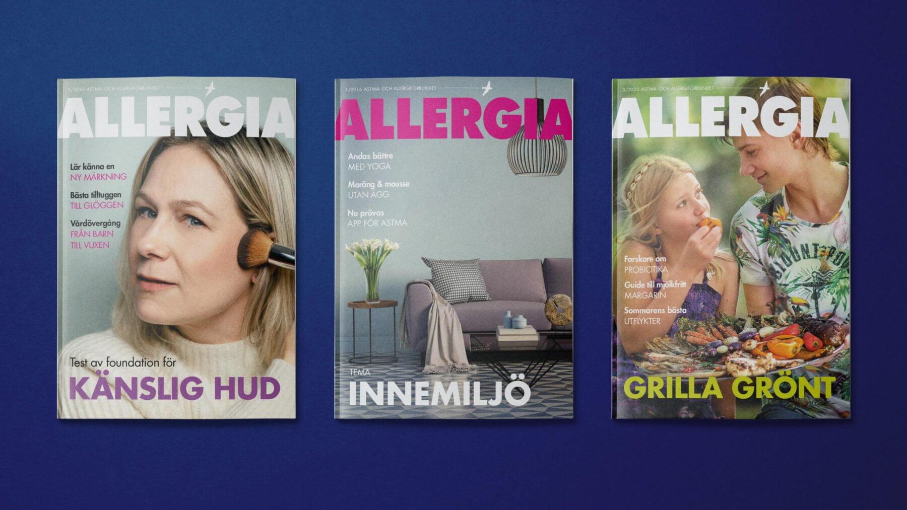 Tre omslag av vår medlemstidning Allergia bredvid varandra